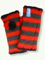 Pompom mitten, red/grey